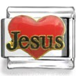 Red Heart and Jesus Enamel Charm