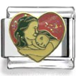 Mother and Daughter in Red Heart Hugging Enamel Charm