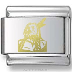 Navajo Indian Gold Laser Charm