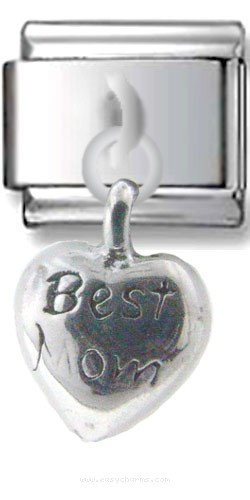 Best Mom Dangle Silver Charm